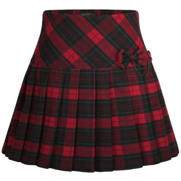 Chouyatou Women's A-Line Plaid Wool Blend Pleated Skirt Side Zipper ($23) ❤ liked on Polyvore featuring skirts, pleated a line skirt, tartan plaid skirt, side zip skirt, plaid pleated skirts and tartan skirt