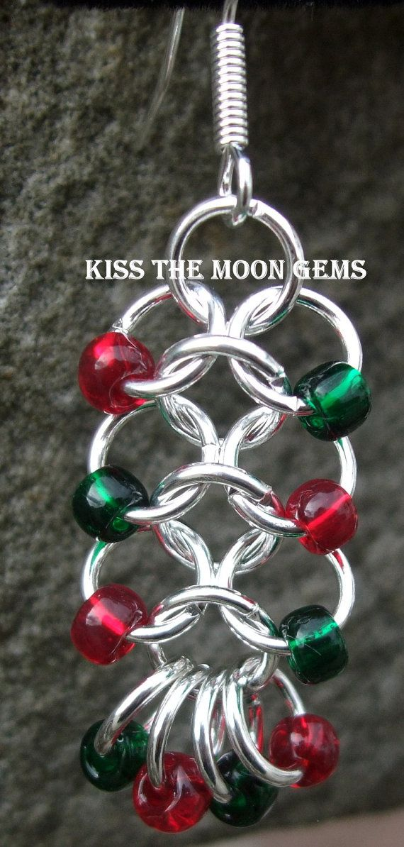 Womens Beaded 41 Chainmaille Earrings by kissthemoongems on Etsy