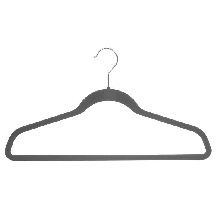 American Black Velvet Ultra Thin Slimline Hanger with Fixed Bar, Space Saving Flocked Suit Hangers with Chrome Hook (box of