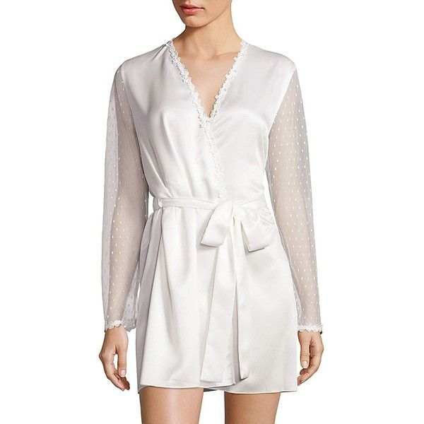 Flora Nikrooz Showstopper Venise Lace Robe ($88) ❤ liked on Polyvore featuring intimates, robes, ivory, lingerie - modern sleepwear, sheer lace robe, long sleeve lace lingerie, ivory lace robe, bath robes and sheer bathrobe