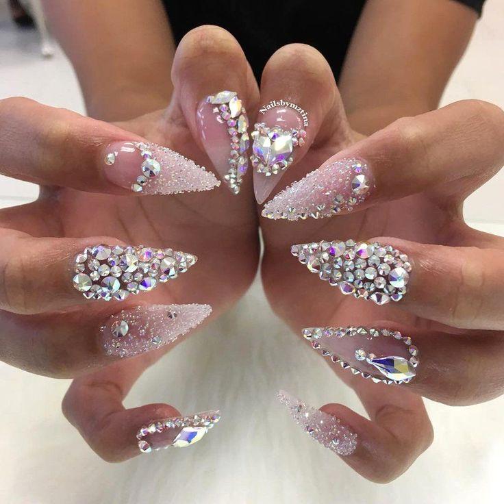 Stiletto nails with diamonds