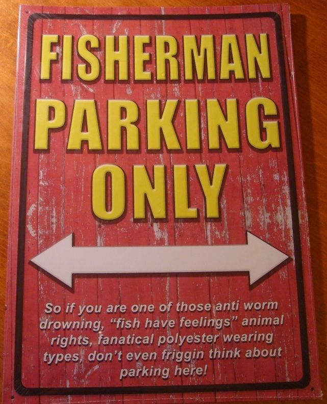 Large FISHERMAN PARKING ONLY Rustic Lake Fishing Cabin Lodge Home Decor Sign NEW #RusticPrimitive