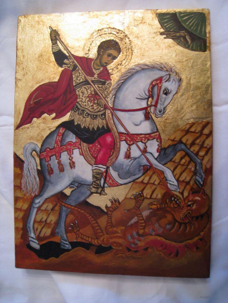 St. Georges Artiste Lucette Matar Peinture à l'œuf et feuilles or