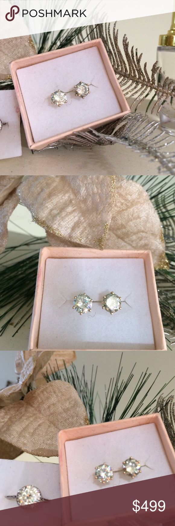 2.75ct  ✨MOISSANITE ✨14K Yellow GOLD STUD EARRINGS 2.75ct ROUND BRILLIANT CUT SI1 ✨MOISSANITE✨ SOLITAIRE STUD EARRINGS in a PERFECT 6-PRONG SETTING!  THEY ARE 14K YELLOW GOLD 👑 !! THESE ARE MY LARGEST MOISSANITE EARRINGS IN STOCK UNTIL EARLY NEXT YEAR!!  GET READY TO WEAR YOUR POLARIZED SUNGLASSES 😎 THEY ARE OVER THE TOP ON THE SPARKLE. FACTOR GAUGE 🌟! my design  Jewelry Earrings