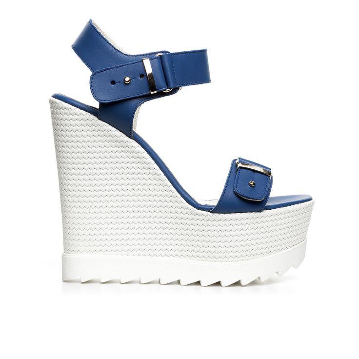 Code: 850G12 Heel height: 13 cm www.mourtzi.com #wedges #whitesole #blue
