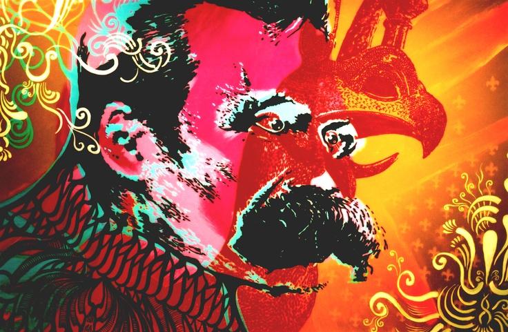 """""""E justamente por sermos, no fundo, homens pesados e sérios, e antes pesos do que homens, nada nos faz tanto bem como o chapéu do bobo: necessitamos dele diante de nós mesmos ― necessitamos de toda arte exuberante, flutuante, dançante, zombeteira, infantil e venturosa, para não perdermos a liberdade de pairar acima das coisas, que o nosso ideal exige de nós."""" Friedrich Nietzsche  Foto: Desconstruindo Gigantes . Nietzsche / Emerson Pingarilho"""