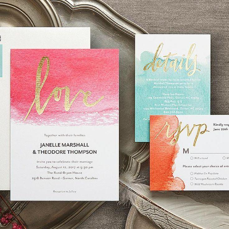 hindu wedding invitation card samples in english%0A Dipped Love  Signature Foil Wedding Invitations in Cranberry or Capri Blue u