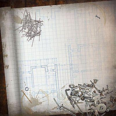 Paper House BLUEPRINT 12x12 Scrapbooking (2) PCS Papers NAILS SCREWS BUILD
