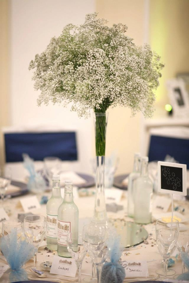 Lily Vase Wedding Flowers : Tall lily vases full of gypsophilia wedding flower