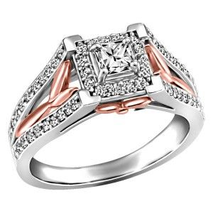 14KT White and rose gold 0.95 ctw Glacier Ice Canadian diamond engagement ring. RIN-LCA-2796
