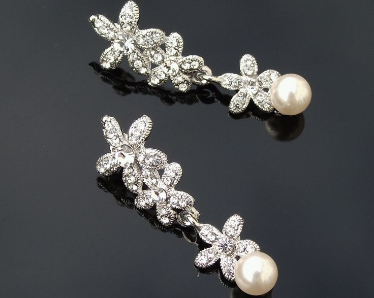 Vintage Style Crystal and Pearl Earrings, Petal | The Wedding Hair Accessory and Bridal Jewellery Experts.