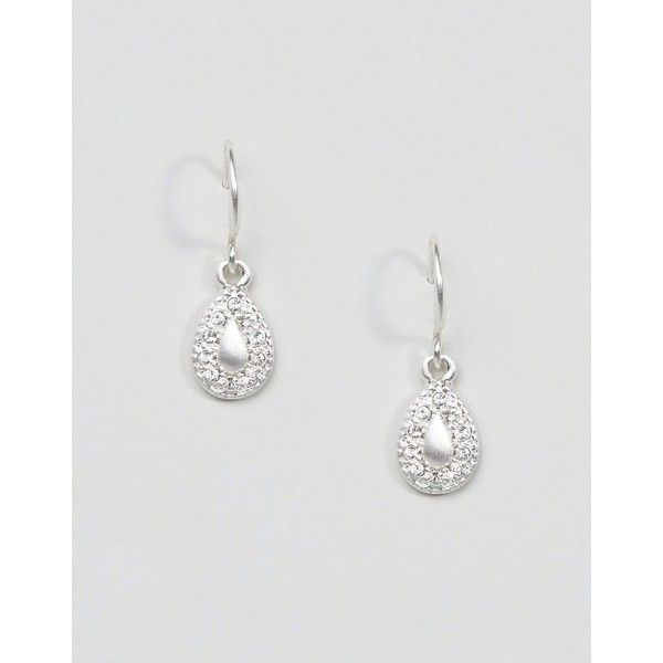 Pilgrim Silver Plated Mini Drop Gem Earrings ($16) ❤ liked on Polyvore featuring jewelry, earrings and silver