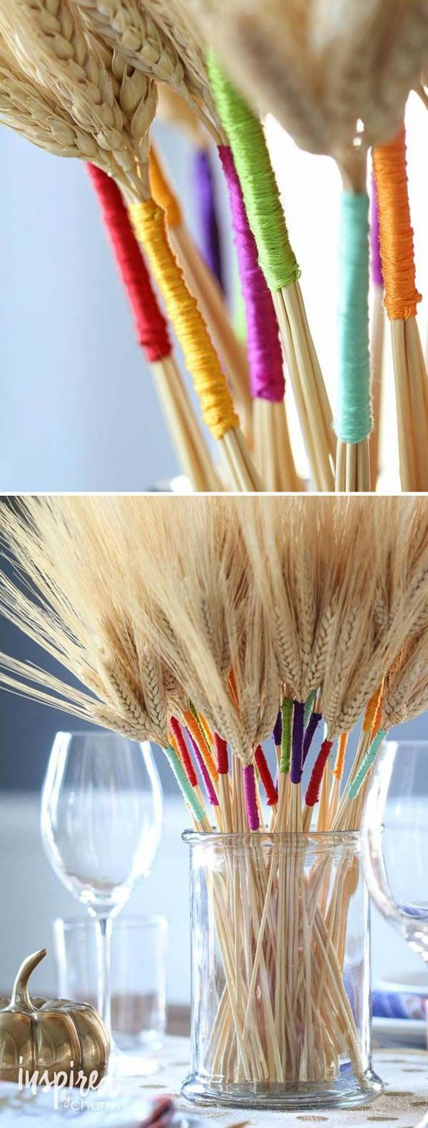 DIY in Farbe umwickelter Weizen ist eine schöne Möglichkeit, Interesse und ein...