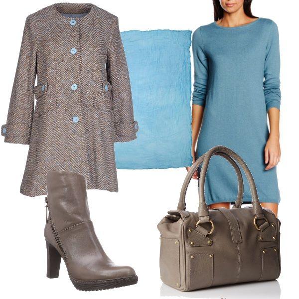 Per questo outfit: vestito azzurro fasciante manica lunga, cappotto in tweed color talpa con bottoni azzurri, foulard azzurro, stivaletto dal tacco comodo e maxibag in tinta.