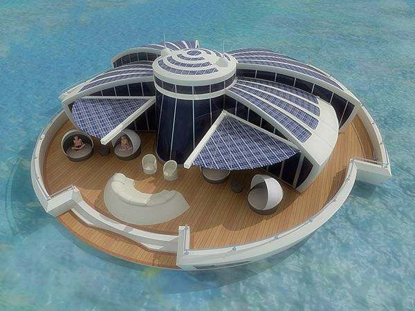 Now THIS is a house boat!: Floating Resorts, Floating Islands, Dreams Home, Houseboats, Solar Floating, Solar Power, Beaches Houses, Houses Projects, Islands Home