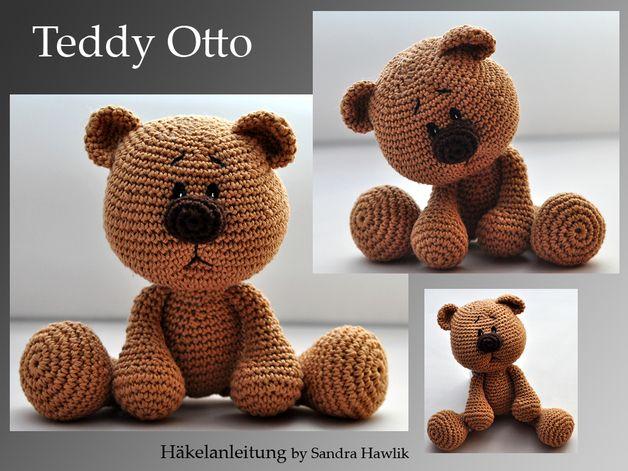 """Teddy Otto  ca. 23 cm bei Nutzung von Garn mit LL 125m/ 50g (Empfehlung: Pro Lana Cotton Basic oder """"Catania"""" von Schachenmayr) und Häkelnadel 3,5  Je nach Garn- und Nadelstärke geht es auch..."""