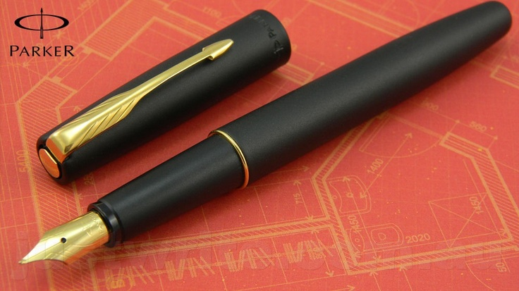 Parker Pen - Frontier Fountain Pen - Matt Black with Gold Trim - Fine Gold Nib [KK-1300-FR-FP-BK-GO] - $26.00 : Fountain Pens Australia - JustWrite Pen Co, Pen Refills, Parker Pens, Fisher Space Pens, Space Pen Refills