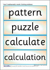 Year 5 maths vocabulary cards: Solving problems (SB6906) - SparkleBox