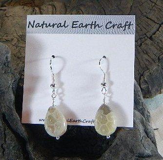 Petite fossil coral jasper teardrop earrings by NaturalEarthCraft