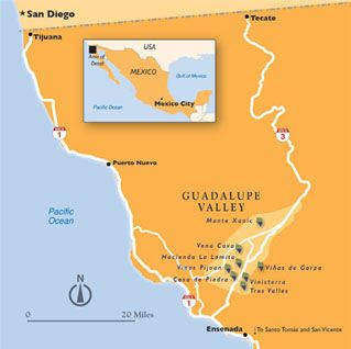 Guadalupe Valley Wine - in Baja Mexico is 4 hours from Los Angeles, and 2 hours from San Diego