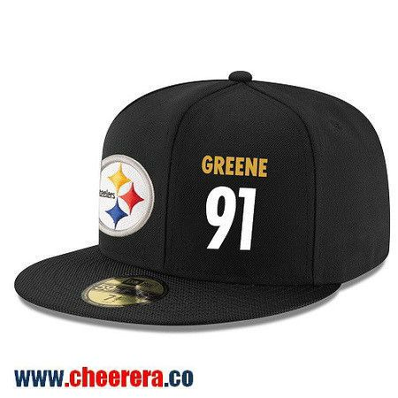 Pittsburgh Steelers #91 Kevin Greene Snapback Cap NFL Player Black with White Number Hat