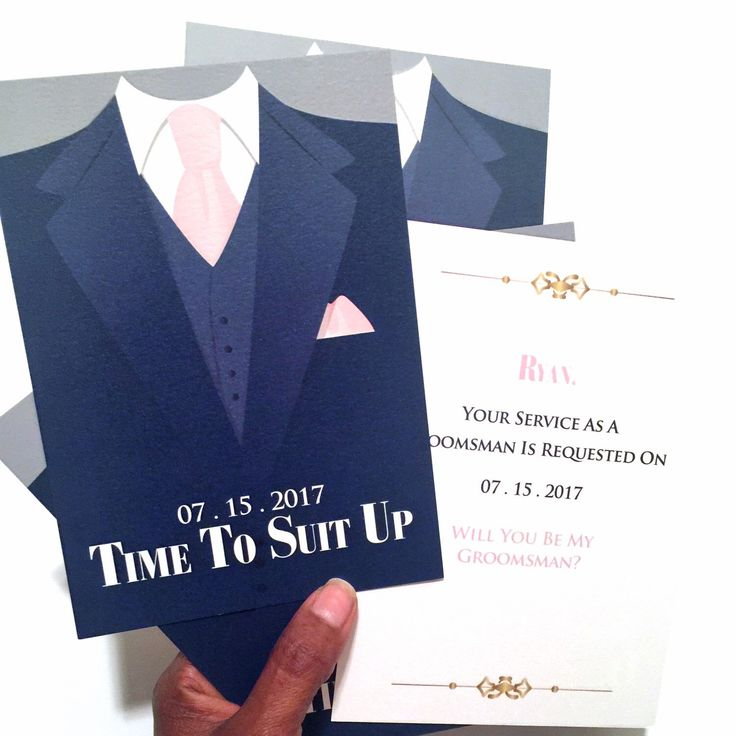 Groom's wedding party attendee invitation cards in wedding colors Navy and ballet slipper pink. Time to Suit Up, Will you be my Best Man? and Will You Be My Groomsman?  What a great way to ask your boys to join you on your special day fellas!