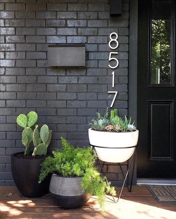 Front Door Numbers And Plants