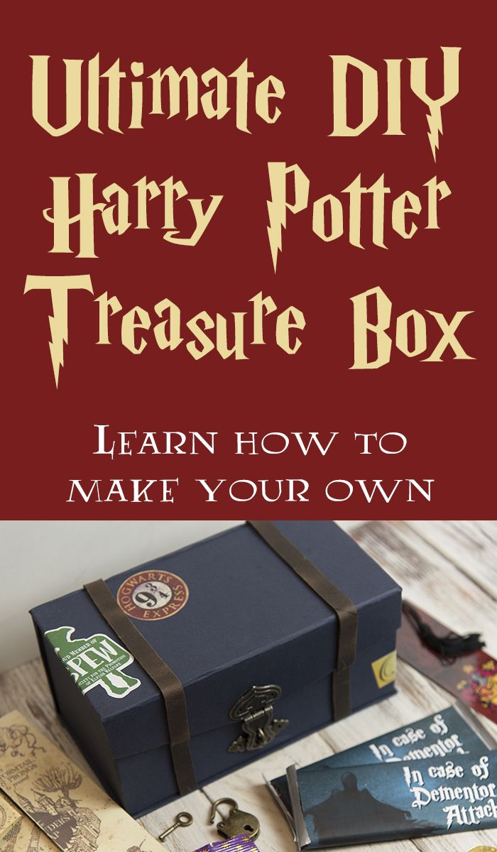 Ultimate DIY Harry Potter Treasure Box - Make your own! Tutorial includes instructions for box and projects to make and include inside! via @lizzp