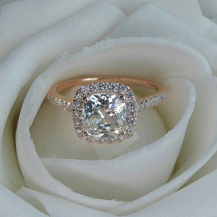 2 carat cushion cut halo engagement. Custom made as rose gold plated. Beautiful!