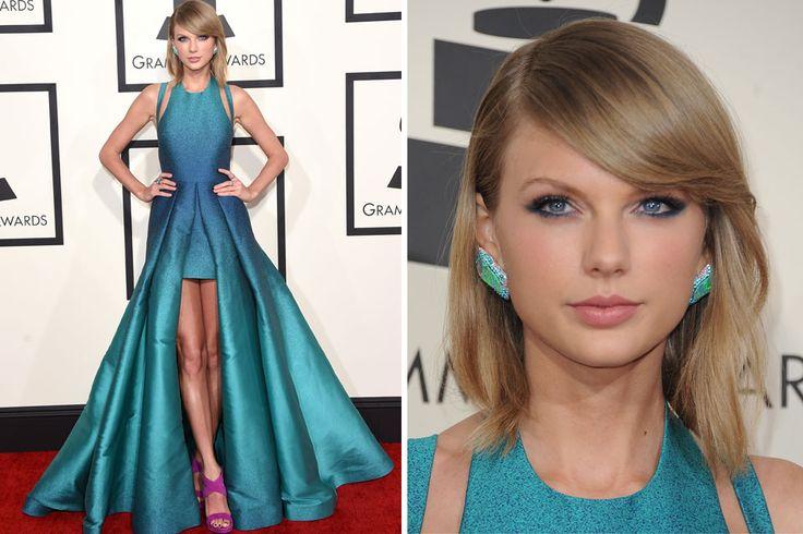 Diosa indiscutida, Taylor Swift se decantó por un vestido asimétrico con cut outs en los hombros, en verde y azul en degradé, de la colección de primavera 2015 de Elie Saab.  /Reuters // My Opinion: Elie Saab, me puede! Usaria otro color de zapatos. Pelo: Impecable!