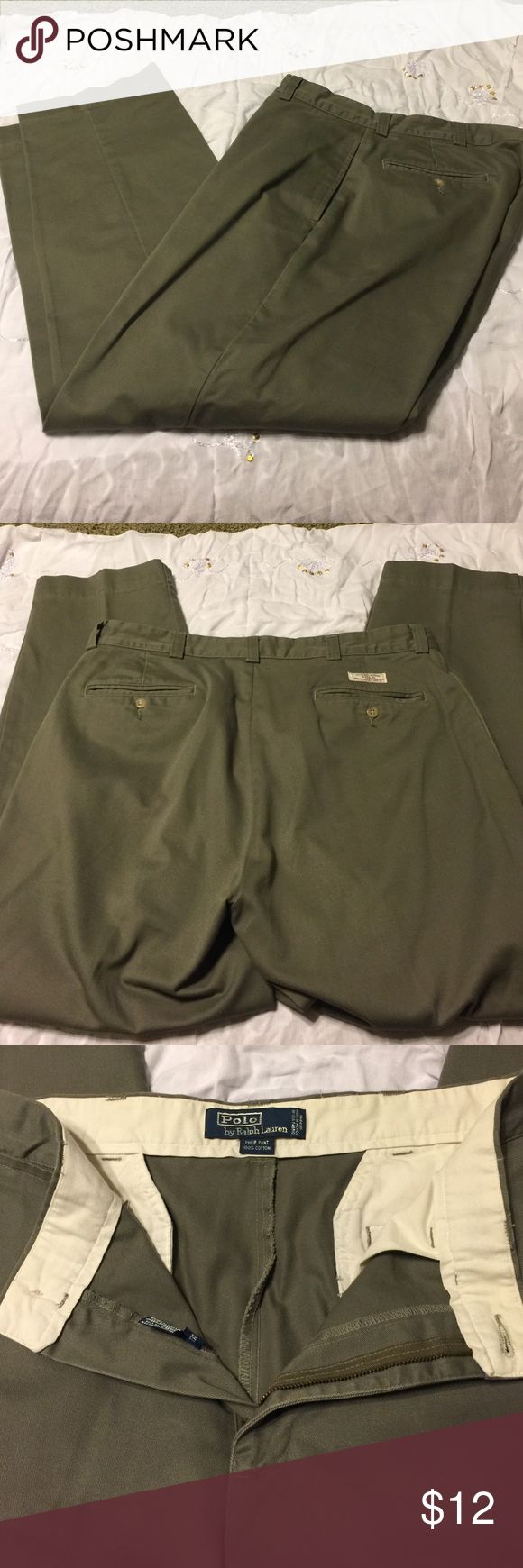 Polo by Ralph Lauren Men's pants Size 34x30, 💯 percent cotton. Great condition!  Greenish. Polo by Ralph Lauren Pants Chinos & Khakis