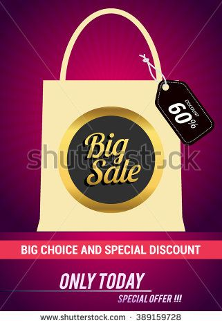 Big sale promo department store. Sale and discount with shopping bag. Vector illustration. - stock vector