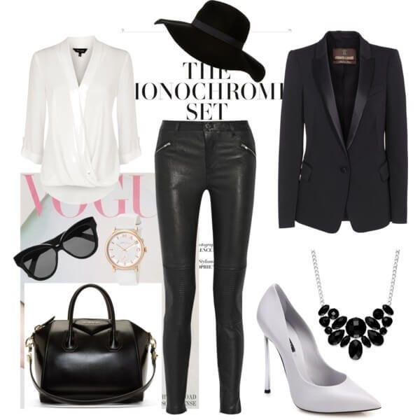 Черные кожаные лосины, пиджак, сумка и широкополая шляпа с белыми туфлями лодочками и блузой