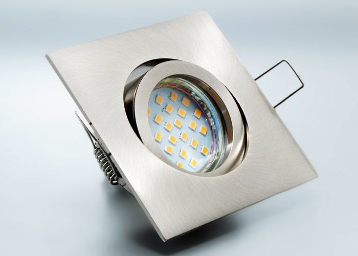 LED Komplett Einbauset Mit 24 SMD Nextec Leuchtmittel Und Einbaurahmen Aluminium Druckguss Eckig Ersetzt 30 Watt Halogenspots Schnellspannkopf