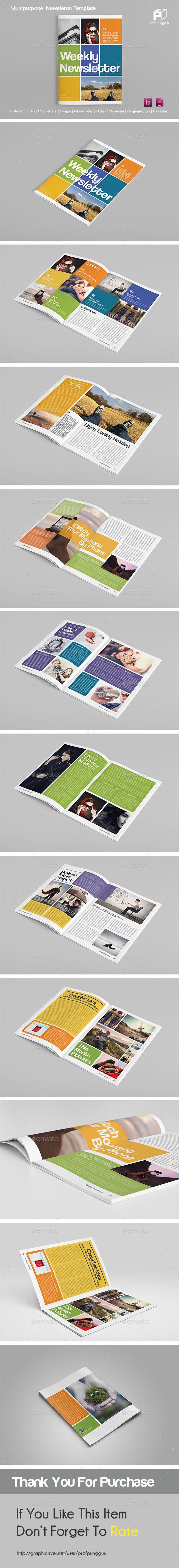 Modern Colorful Newsletter Template #design Download…