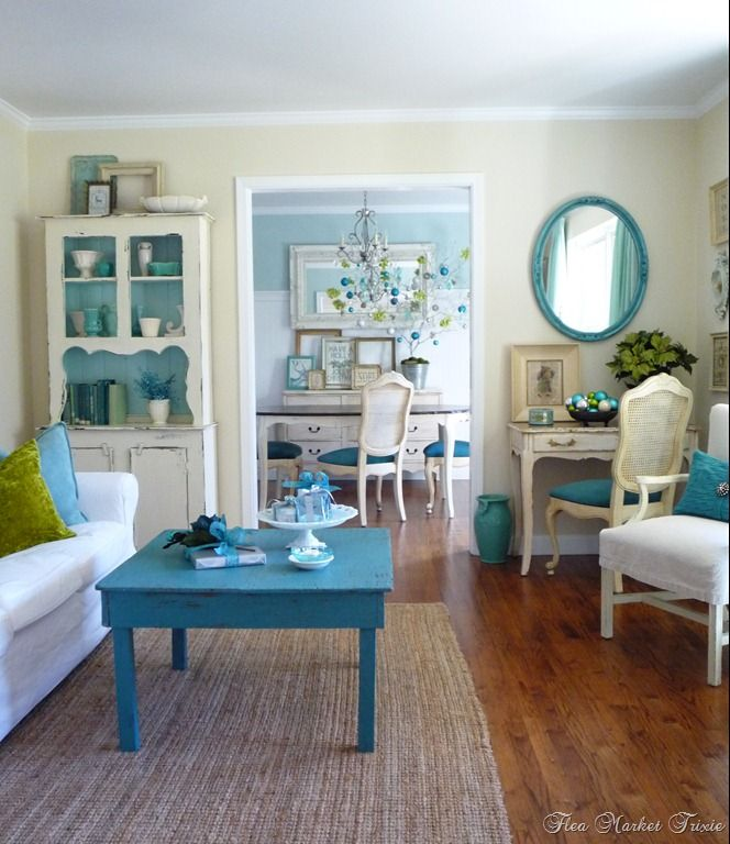 Turquoise green white shabby chic living room for Turquoise and white living room ideas