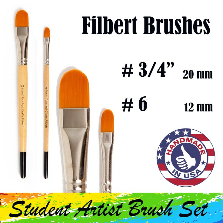 There are two filbert paintbrushes in Hand Touched Crafts Student Artist Brush Set. A ¾-inch – 20 mm paintbrush and a #6 - 12 mm paintbrush