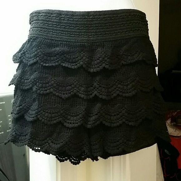 M USA black lace shorts Black lace ruffle shorts. Looks like a skirt. Size M/L. New without tags M U.S.A Shorts