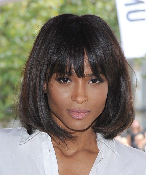 Ciara Medium Straight Casual Bob Hairstyle with Blunt Cut ...