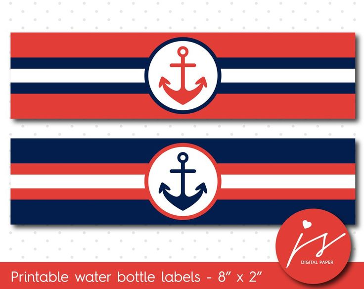 Red and navy blue nautical water bottle labels, WA-155