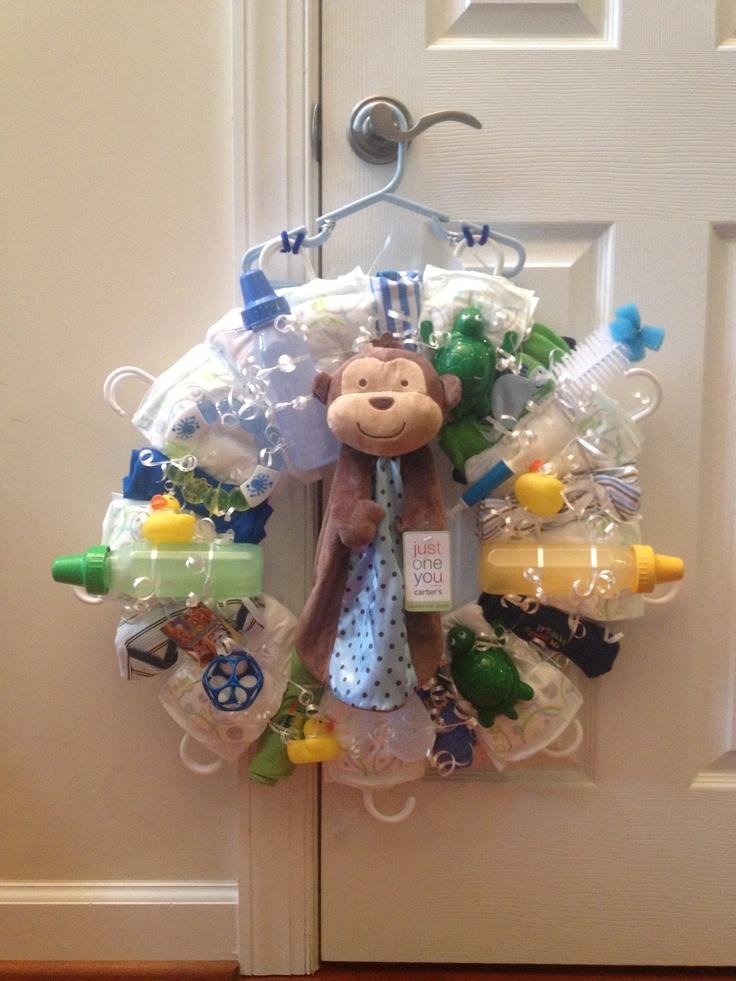 Diaper wreath for baby boy shower