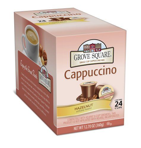 Grove Square Cappuccino, Hazelnut, 24-Count Single Serve Cup for Keurig K-Cup Brewers - http://hotcoffeepods.com/grove-square-cappuccino-hazelnut-24-count-single-serve-cup-for-keurig-k-cup-brewers/