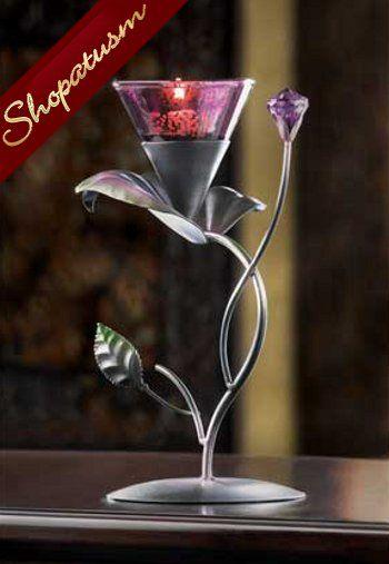 10 Centerpiece Elegant Purple Lilac Lily Floral Candle Holder