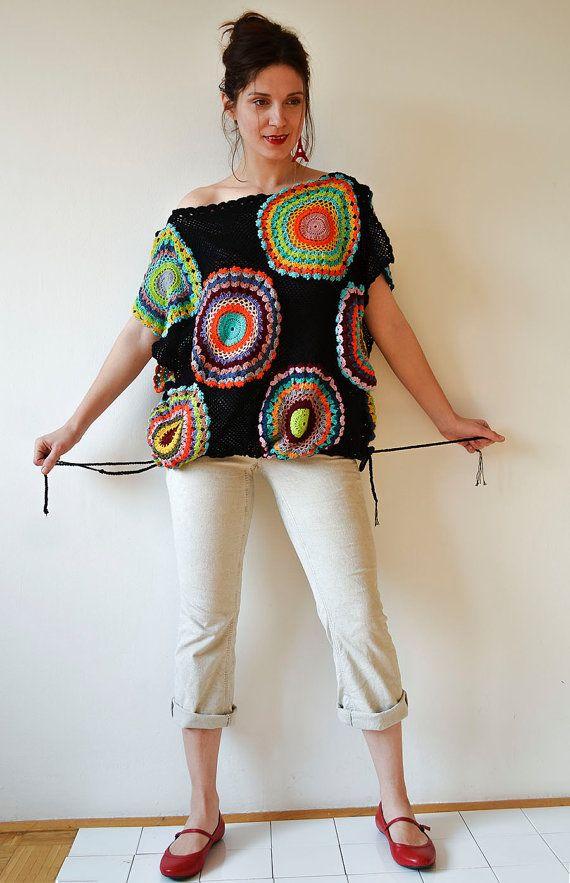 Plus Size Clothing, Black Women's Sweater Vest – Crochet ,Light Silky Yarn – MADE TO ORDER