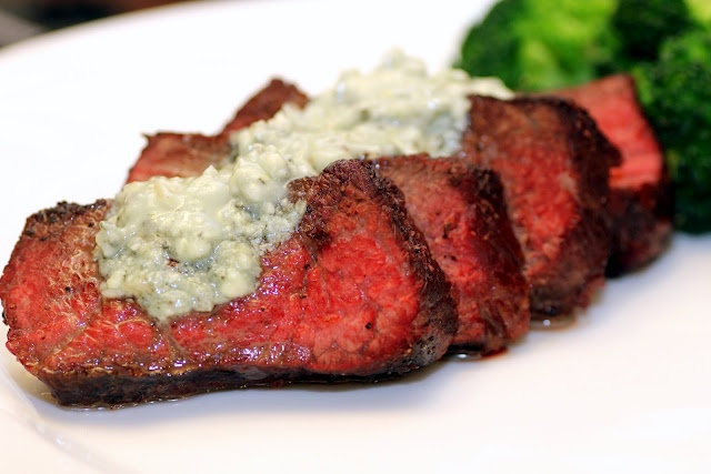 Beef with Blue Cheese Butter   Ingredients    6 tablespoons butter, softened   2 garlic cloves, crushed and minced   3 1/2 ounces Blue Castello cheese   2 teaspoons finely shredded sage leaves   2 lb 4 ounces beef eye fillet (thick end), trimmed   1 tablespoon olive oil