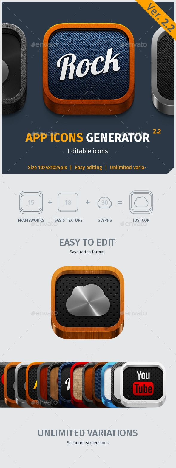 App Icon Generator V.2.2 — Photoshop PSD #android #retina • Available here → https://graphicriver.net/item/app-icon-generator-v22/4917119?ref=pxcr