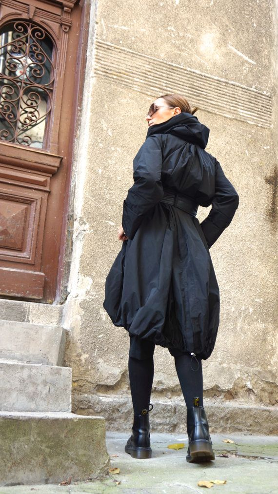 NEW Collection 2016 Black Zipper Hooded Raincoat / by Aakasha