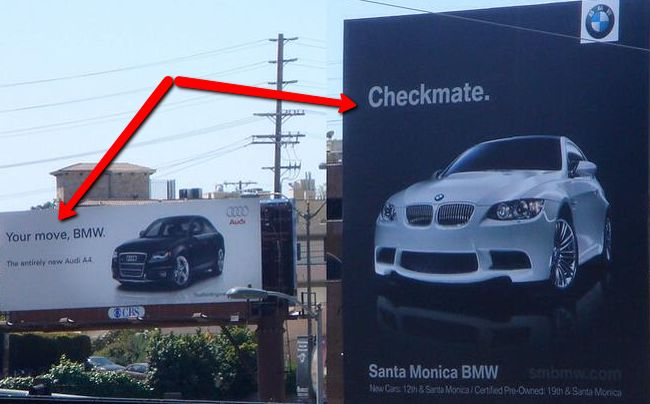 Cheeky billboards - Audi and BMW