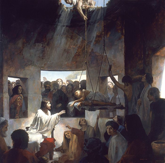 Christ Forgives Sins And Heals A Paralytic Man Lowered