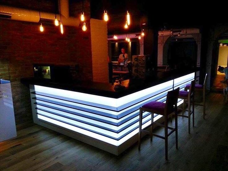 Bar, lights and purple chairs